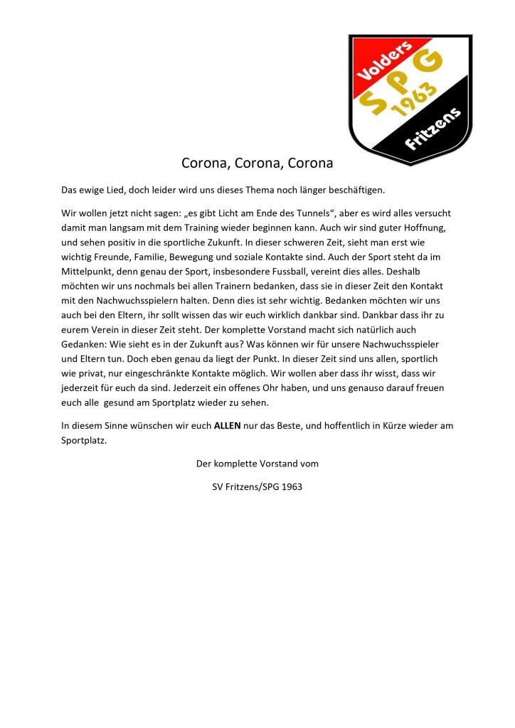 Elternschreiben Corona
